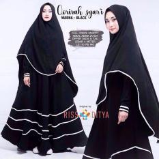 Baju Original Dress Qorirah Syar'I Gamis Baju Panjang Casual Wanita Hijab Baju Pesta Modern Trendy Warna Black