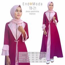 Baju Original Endo Moda TB-21 Dress Wanita Baju Muslim Modern Gamis Katun Supernova Premium