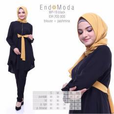 Baju Original Endo Moda Wp-19Blouse Wanita Baju Muslim Modern Gamis Katun  Supernova Premium WarnaBlack 05278a0a04