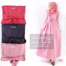 Baju Original Flowing Dress Polka Katun Jepang Gamis Panjang Hijab Casual Pakaian Wanita Hijab Modern Warna Dusty