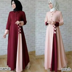 Baju Original Gamis Afida Dress Gamis Gaun Pesta Panjang Baju Hijab Terusan Pengajian Wanita Muslimah Warna peach