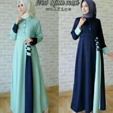 Baju Original Gamis Afida Dress Gamis Gaun Pesta Panjang Baju Hijab Terusan Pengajian Wanita Muslimah Warna Tosca
