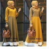 Model Baju Original Gamis Aletta Dress Baju Panjang Casual Wanita Hijab Baju Modern Trendy Warna Mustard Terbaru