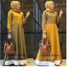 Ulasan Mengenai Baju Original Gamis Aletta Dress Baju Panjang Casual Wanita Hijab Baju Modern Trendy Warna Mustard