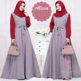 Toko Baju Original Gamis Alicia Dress Pasmina Baju Panjang Casual Wanita Hijab Baju Modern Trendy Warna Grey Red Baju Original Online