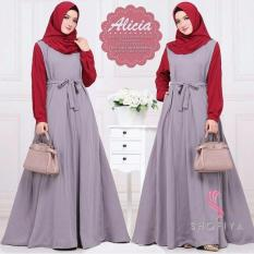 Baju Original Gamis Alicia Dress Pasmina Baju Panjang Casual Wanita Hijab Baju Modern Trendy Warna Grey Red Baju Original Diskon 30