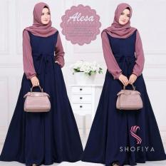 Baju Original Gamis Alicia Dress + Pasmina Baju Panjang Casual Wanita Hijab Baju Modern Trendy Warna Navy-Dusty