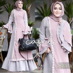 Baju Original Gamis Caseli Syar'i Dress Baju Panjang Casual Wanita Hijab Baju Modern Trendy Warna Grey