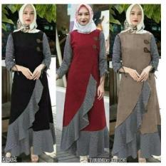 Baju Original Gamis Clarita  Dress Baju Panjang Muslim Casual Wanita Pakaian Hijab Modern Modis Trendy Terbaru 2018 Warna Maroon
