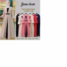Baju Original Gamis Jisun Dress Balotely Baju Panjang Casual Wanita Hijab Baju Modern Trendy Warna Peach