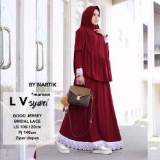 Baju Original Gamis L V Syar'i Dress Baju Panjang Casual Wanita Hijab Baju Modern Trendy Warna Maroon