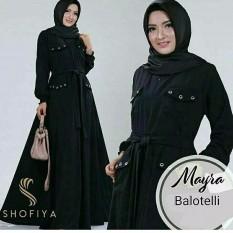 Baju Original Gamis Mayra Dress Baju Panjang Muslim Casual Wanita Pakaian Hijab Modern Modis Trendy Terbaru 2018 Warna Black
