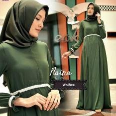 Baju Original Gamis Naina Dress Baju Panjang Muslim Casual Wanita Pakaian Hijab Modern Modis Trendy Terbaru 2018 Warna Green Botol