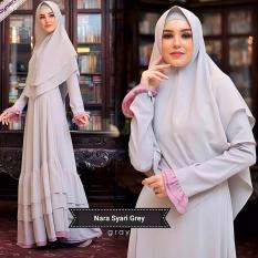 Baju Original Gamis Nara Syar'i Dress Baju Panjang Muslim Casual Wanita Pakaian Hijab Modern Modis Trendy Terbaru 2018 Warna Grey