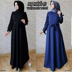 Baju Original Gamis New Makuta Dress Gamis Wolfice Mix Pelvet Pakaian Panjang Muslim Modern Modis Trendy Warna Black