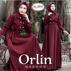Baju Original Gamis Orlin 2 Dress Baju Panjang Muslim Casual Wanita Pakaian Hijab Modern Modis Trendy Terbaru 2018 Warna Maroon