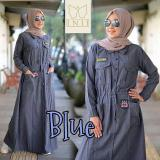 Beli Baju Original Gamis Rania Dress Baju Panjang Casual Wanita Hijab Baju Modern Trendy Warna Blue Jawa Barat