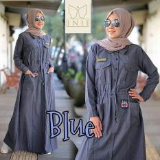 Beli Baju Original Gamis Rania Dress Baju Panjang Casual Wanita Hijab Baju Modern Trendy Warna Blue Online Murah