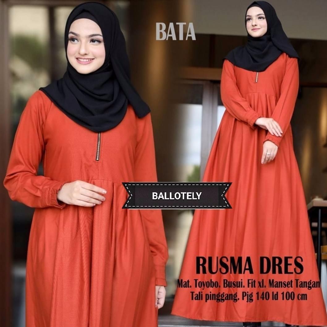 Model Elegan Baju Original Gamis Rusma Dress Baju Panjang Muslim Casual  Wanita Pakaian Hijab Modern Modis e3267ec29f