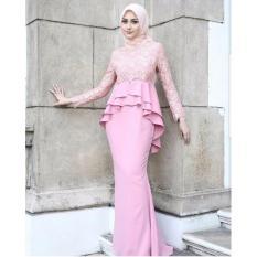 Baju Original Gamis Samira Brukat Dress Baju Panjang Casual Wanita Hijab Baju Modern Trendy Warna Pink