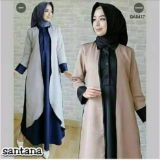 Baju Original Gamis Santana Dress Gamis Gaun Pesta Panjang Baju Hijab Terusan Pengajian Wanita Muslimah Warna Grey