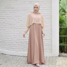 Baju Original Gamis Swing Dress Baju Panjang Muslim Casual Wanita Pakaian Hijab Modern Modis Trendy Terbaru 2018 Warna Mocca-Cream