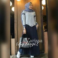 Baju Original Gamis Varissa Dress Baju Panjang Muslim Casual Wanita Pakaian Hijab Modern Modis Trendy Terbaru 2018 Warna Navy
