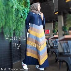 Diskon Baju Original Gamis Venya Dress Baju Panjang Muslim Casual Wanita Pakaian Hijab Modern Modis Trendy Terbaru 2018 Warna Navy Baju Original Jawa Barat