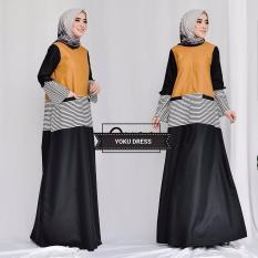 Baju Original Gamis Yoku Dress Baju Panjang Muslim Casual Wanita Pakaian Hijab Modern Modis Trendy Terbaru 2018 Warna Black