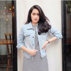 Promo Baju Original Jacket Jeans Jaket Hangat Simple Atasan Wanita Casual Modern Modis Trendy Warna Light Blue Baju Original Terbaru