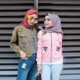 Harga Baju Original Jaket Hey Bomber Jacket Wanita Modern Simple Atasan Wanita Casual Modern Trendy Warna Pink Baju Original Terbaik