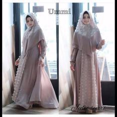 Baju Original Julie Syari Dress Wolfis Mix Ruby Gamis Panjang Hijab Casual Pakaian Wanita Hijab Modern WarnaLatte