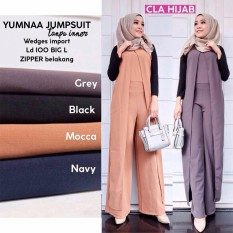 Baju Original Jumpsuit  Yumna Jumpsuite Baju Wanita Muslim Casual Modis Modern Trendy Warna Dark Grey