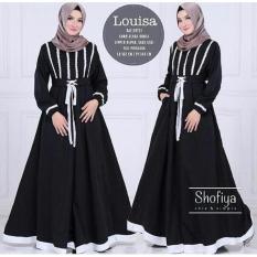 Toko Jual Baju Original Louisa Dress Balotelly Gamis Panjang Hijab Casual Pakaian Wanita Hijab Modern Warnablack