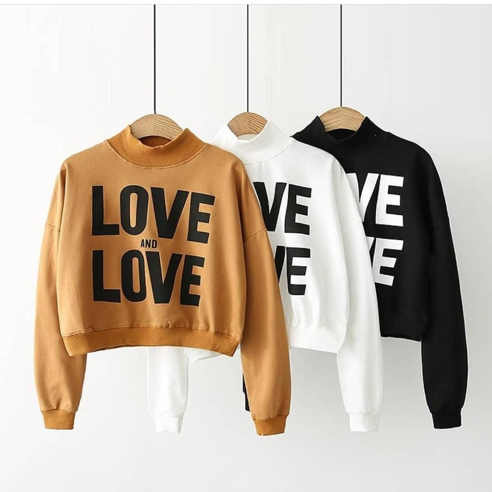 Ootd Baju Original Love N Crop Sweater Flecee Jaket Pakaian Wanita Muslim  Modern Parka Atasan Cewek Murah 573bbf2429