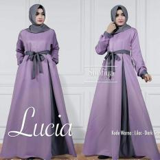 Baju Original Lucia Dress Gamis Wolfice Wolfice Panjang Baju Hijab Terusan Pengajian Wanita Muslimah Lilac