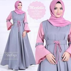 Harga Baju Original Marbella Dress Balotelly Gamis Panjang Hijab Casual Pakaian Wanita Hijab Modern Warnagrey Pink Branded