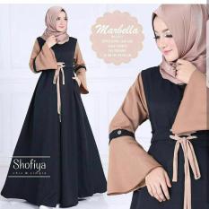 Baju Original Marbella Dress Wolfis Gamis Panjang Hijab Casual Pakaian Wanita Hijab Modern WarnaBlack Mocca