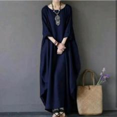 Baju Original Marshanda Dress Buble Crepe Gamis Panjang Hijab Casual Pakaian Wanita Hijab Modern Warna Navy
