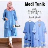 Beli Baju Original Medi Tunik Jeans Wash Baju Atasan Wanita Muslim Panjang Pakaian Kerja Santai Casual Baju Original Online