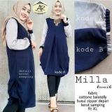 Beli Baju Original Milla Tunik Baju Atasan Wanita Muslim Panjang Pakaian Kerja Santai Casual Warna Navy Baju Original Dengan Harga Terjangkau