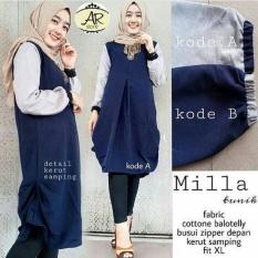 Beli Baju Original Milla Tunik Baju Atasan Wanita Muslim Panjang Pakaian Kerja Santai Casual Warna Navy Online Terpercaya