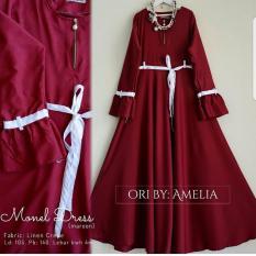 Baju Original Monel Dress Wolfis Gamis Panjang Hijab Casual Pakaian Wanita Hijab Modern WarnaMaroon