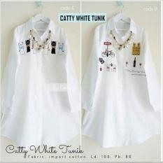 Baju Original Muslim Blouse Catty White Tunik Blus Baju Panjang Wanita Pakaian Modis Casual Modern Baju Kerja Trendy Terbaru 2018