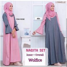 Baju Original Nagita Set Wolfis Gamis Panjang Hijab Casual Pakaian Wanita Hijab Modern WarnaPink Rose