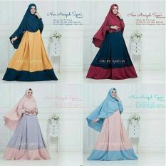 Baju Original New Ainiyah Syari Dress Wolfis Gamis Panjang Hijab Casual Pakaian Wanita Hijab Modern WarnaNavy