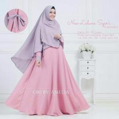 Baju Original New Laluna Syari Dress Wolfis Gamis Panjang Hijab Casual Pakaian Wanita Hijab Modern WarnaLavender