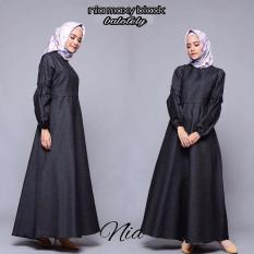 Baju Original Nia Maxy Dress Balotelly Gamis Panjang Hijab Casual Pakaian Wanita Hijab Modern WarnaBlack