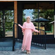 Baju Original Olivia Syari Dress Wolfis Mix Brukat Gamis Panjang Hijab Casual Pakaian Wanita Hijab Modern Warna Pink