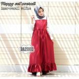 Harga Baju Original Overall Fluppy Set Wolfis Stelan Wanita Muslimah Rok Panjang Casual Red Yang Murah Dan Bagus